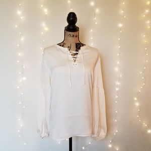 Vince Camuto Ivory Lace Up Front Blouse Sz 2X NWT